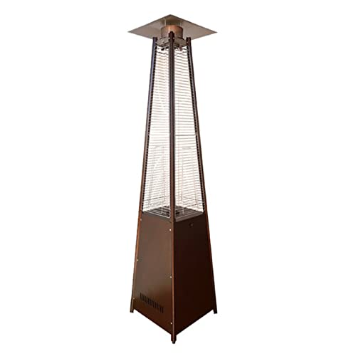 Pyramid Flame Outdoor Heater,patio heater,12.5 kW gas heater,radiant heater,dumping protection device,235cm,gold,silver,stainless steel