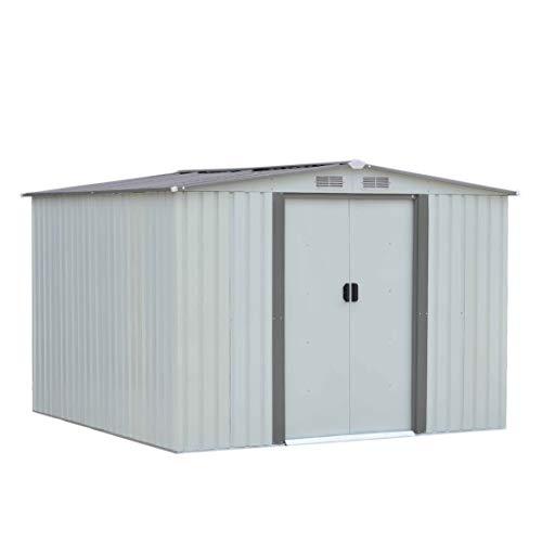 GET 6X8Ft Hochleistungs-Gartengarage im Hinterhof Lagerhalle Schuppen aus verzinktem Stahl Lagergebäude Schrägdach mit LüftungsschlitzenWeiß - Weiß