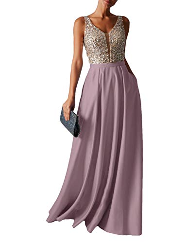 HUINI Abendkleid Lang Damen Ballkleider Hochzeitskleid Vintage Glitzer Cocktail Partykleider Brautkleider Mauve 44