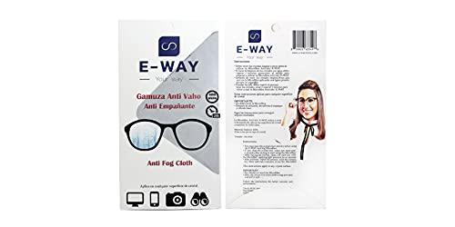 E-WAY Gamuza de microfibra antivaho para gafas de 400 aplicaciones y 24 horas de efecto | 15x15cm | Para multiples usos | Antiempañante | Wipes anti-fog 24 hours of effect and multiple uses