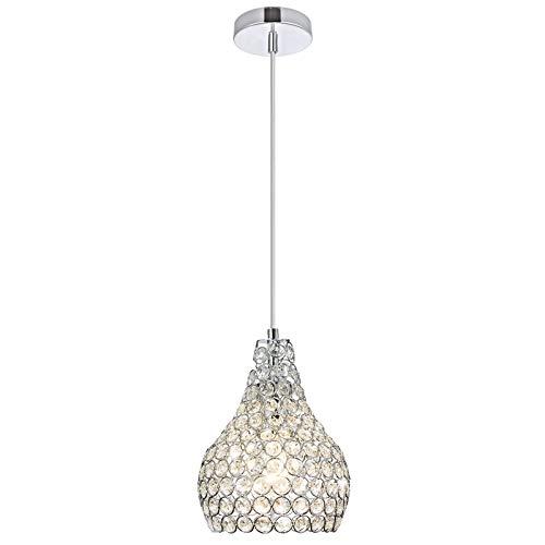 Popilion Ornate Chrome Kitchen Island Crystal Ceiling Pendant Light, Mini Crystal Pendant Lighting Fixtures for Dinning Room Bedroom Living Room Loft