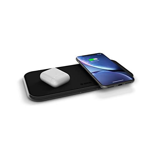 ZENS Qi zertifizierter Dual Aluminium Wireless Charger Schwarz (Fast Wireless Charging mit bis zu 10 Watt, USB-A Anschluss, 30W USB-C Netzteil inklusive, Kompatibel mit allen Qi-fähigen Geräten)