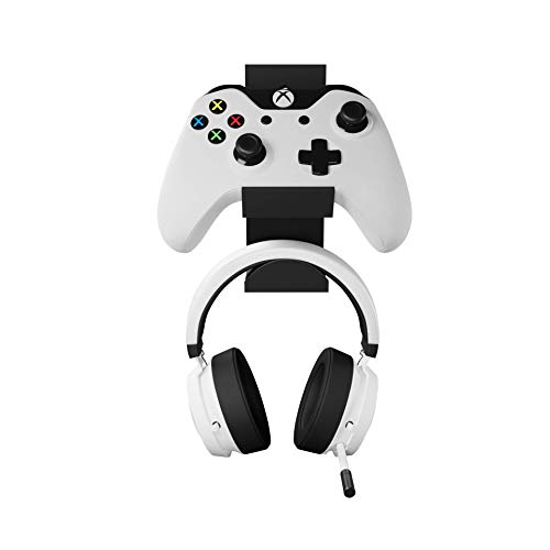 GENIALISS - 1 Soporte Base para Control de Xbox One X S Elite Inalambrico de Pared + Base Soporte para Audifonos Headset Universales Gamer