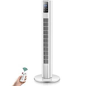 cx-kzw Ventilateur Silencieux Vertical Vertical Tower, Ventilateur de Refroidissement de Vibration Blanc, télécommande et Affichage numérique, minuterie de 7,5 Heure,