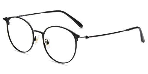 Firmoo Panto Brille ohne Sehstärke Anti Blaulicht, Computer Brille mit Blaulichtfilter, Blaulicht UV Schutzbrille Anti Augen/Kopfschmerzen, Blendfrei, Nerdbrille für Damen Herren, Rahmenbreite 14cm