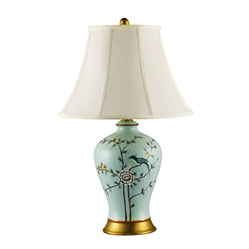Lámpara de Mesa Nuevo chino retro Lámpara de cerámica del dormitorio Tabla lámpara de cabecera de la sala de Estudios del Cobre Clásica de noche de contador de luz de la lámpara LED Luz Nocturna Lámpa
