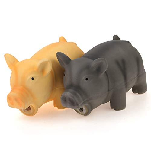 Chiwava 2 Stück 16,5 cm Quitschende Hundespielzeug Latex Schwein GRUNTING Tier Sound Welpen Kauen Interaktives Spiel für Medium Hunde
