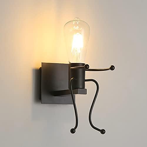 Luz de la pared E27 Creative Lámpara de Hierro Forjado Humanoide Negro Para Dormitorio, Restaurante, Corredor (Negro)