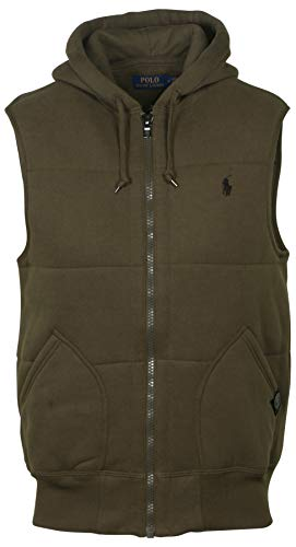 POLO RALPH LAUREN Men's Quilted Fleece Vest (Green, Medium)