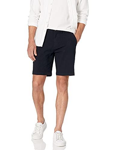 Amazon Brand - Goodthreads Men's 9' Inseam Stretch Seersucker Short, Navy 32