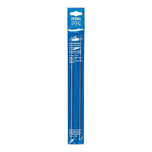 PFERD Kettensägefeilen, 2 Stück, rund, 200mm x 4,0mm, Spiralhieb, Classic Line, in Kunststofftasche, 11081203 – für das manuelle Schärfen von Sägeketten