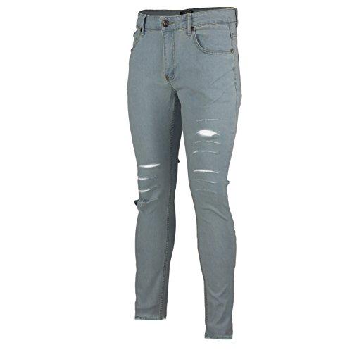 XPOSED New Mens Super Stretch Ripped Cut Jeans Skinny Slim Fit Distress Denim Regular Leg All Waist – 5 Colours [Waist 38