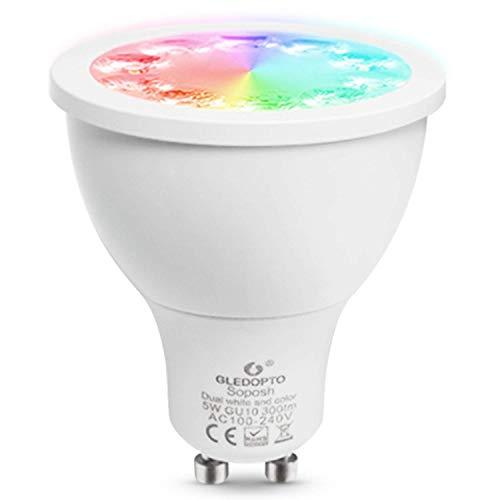 Gledopto ZigBee Smart Spot 5W Dual Blanco y Color LED GU10, funciona con Philips Hue/IKEA TRADFRI/Amazon Alexa/Google Assistant (requiere de 2 años de garantía)
