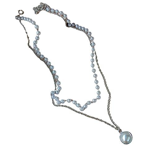 XPT Collares Circulares para Mujer Pulsera De Perlas De Imitación Elegante Y Cómoda De Doble Capa De Todo Fósforo para Citas 2