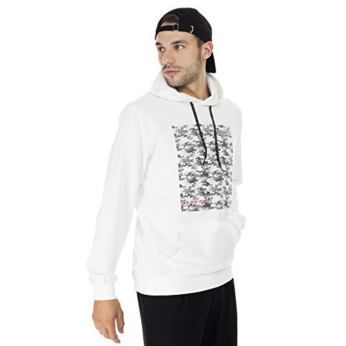 BURATTI - Sudadera con capucha para hombre, con bolsillo tipo canguro Blanco-2 L