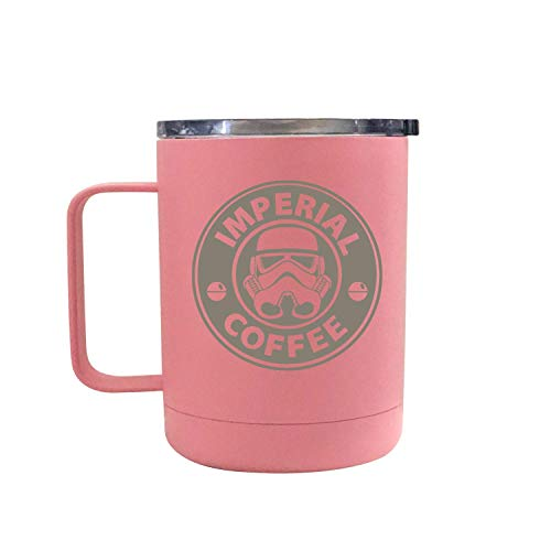 Star Wars Laser Engraved Double Wall Insulated Coffee Mugs, 12oz Large Novelty Souvenir Gift for Special Occasions, Keeps Drinks Cold and Hot Longer, Leakproof Lid (Imperial Coffee, Pink)