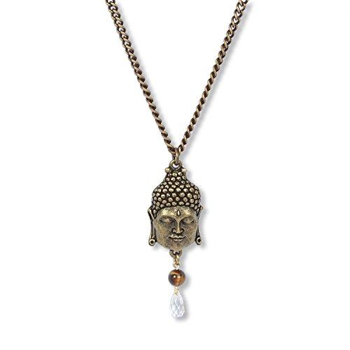 Anisch de la Cara Damesketting, antiek brass - Boeddha of Wisdom Talisman ketting met tijgeroog, 70-75 cm Boeddha of Wisdom - artnr. 2400-b