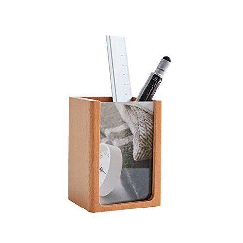 Solid Wood Photo Frame Soporte de Pluma Papelería Box Set B para la Pluma de la Oficina de Escritorio TINGG