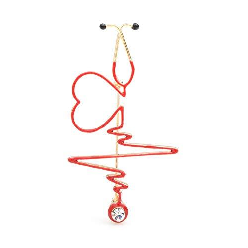 XZFCBH Röd hjärtfrekvens broscher emalj elektrokardiogram stetoskop sjukhus läkare brosch nålar