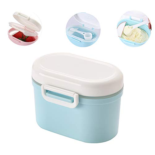 Travel Milk Powder Storage Box with Spoon, YEEHO Portable Formula Dispenser with Scoop Airtight Small Container Case Easy go Sealed Flour Case,Blue