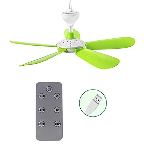 Abcidubxc USB Ventilator, USB-lüfter, Ventilator USB, 5W Fernbedienung Timing USB-Deckenventilator Luftkühler USB-Lüfter Für Bett Camping Outdoor Hängende Camper Zelte Aufhänger