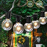 retro camper lights - Svater Globe String Lights Outdoor,25FT Led Patio Lights with 23pcs E12 Socket, 25Pcs G40 1W Clear Glass Bulbs String for Cafe Bistro Backyard Garden