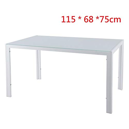 EBS Tavolo da Pranzo in Vetro Temperato Lucido con Gambe in Metallo - Bianco (115 * 68 * 75 cm)