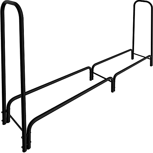 Amagabeli 8 ft Outdoor Fire Wood Log Rack for Fireplace Heavy Duty Firewood Pile Storage Racks for Patio Deck Metal Log Holder Stand Tubular Steel Wood Stacker Outside Tools Accessories Black