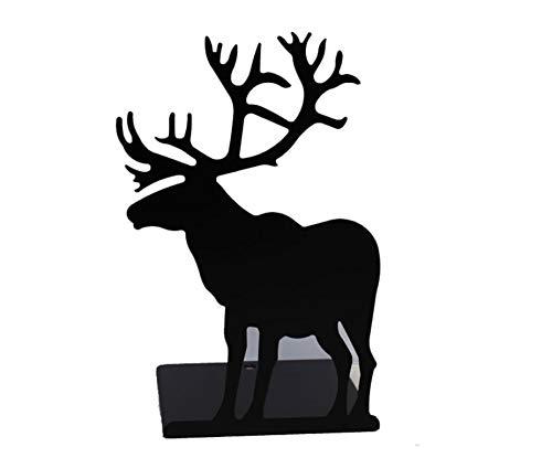 【AedoE】ヘラジカ鹿 金属製 ブックエンド 本立て ブックストッパー ブックオーガナイザー卓上収納 机と本棚の飾り物 置物 インテリア 2個セット ピンク (ブラック)