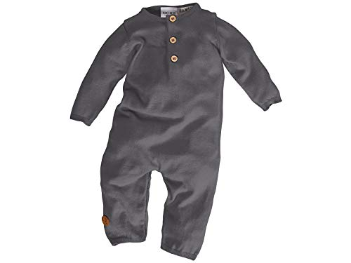 Bio Baby Overall Strick 100% Bio-Baumwolle (KbA) GOTS zertifiziert, Dunkelgrau Melange, 62/68