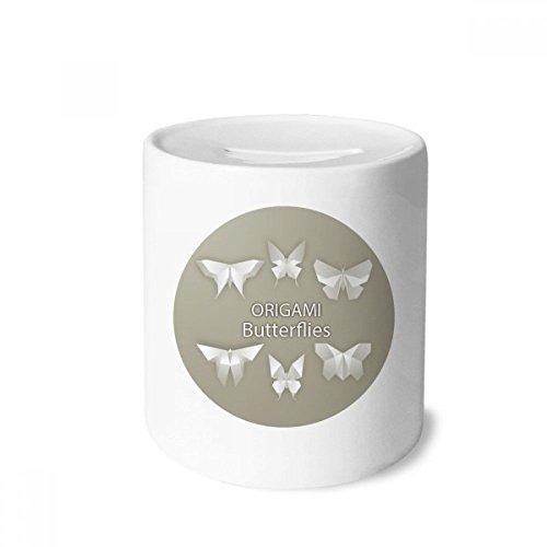 DIYthinker Modelo Blanco de la Mariposa Abstracta del Dinero de Origami Caja de Las Cajas de ahorros de cerámica Adultos Moneda de la Caja para niños