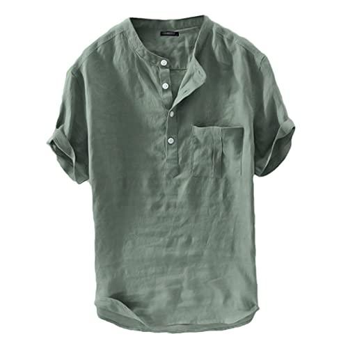 Casual Hombres Camisas Stand Collar Sólido Suelto Algodón Blusa Manga Corta Camisas Retro Harajuku Camisas Hombre Verano, verde, 4XL