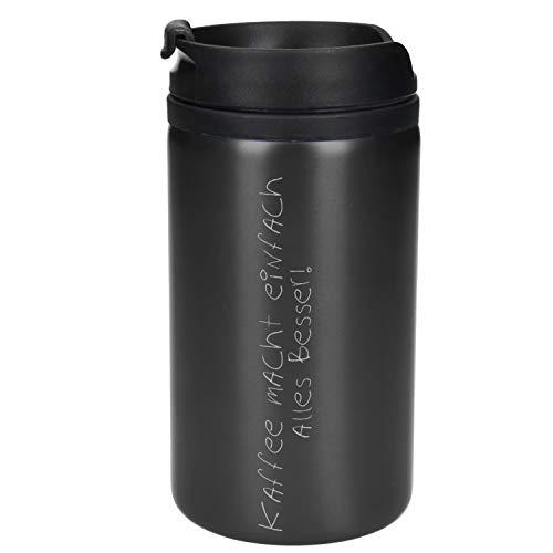 Uakeii Vaso térmico 'Venice' de Coffee to Go de acero inoxidable personalizable con nombre, 0,25 litros, práctico vaso térmico con grabado personalizado, perfecto para máquinas de café (gris)
