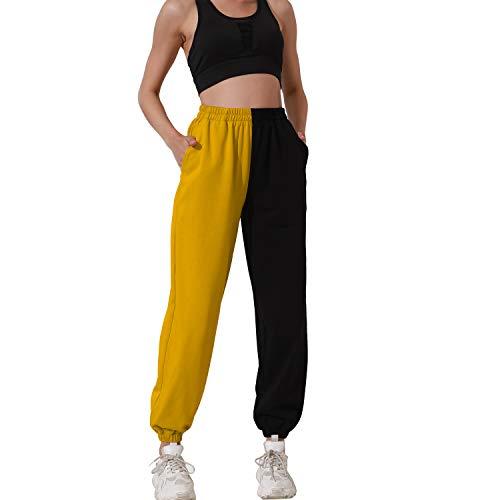 HAPYWER Pantalones de deporte largos para mujer, con bolsillos, de algodón, para correr, yoga, bailar, tallas S-2XL amarillo S