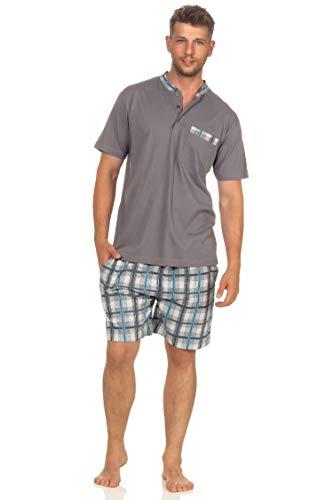 Herren Shorty Kurzarm Schlafanzug mit Karierter kurzer Hose und Knopfleiste am Hals, Größe2:56, Farbe:grau