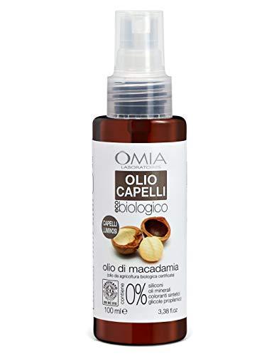 Omia Olio per Capelli Eco Bio Con Olio di Macadamia, Trattamento per Capelli Stressati e Spenti, Azione Idratante, Rende i Capelli Luminosi, Dermatologicamente Testato, Senza SLES e PEG, 100 ml