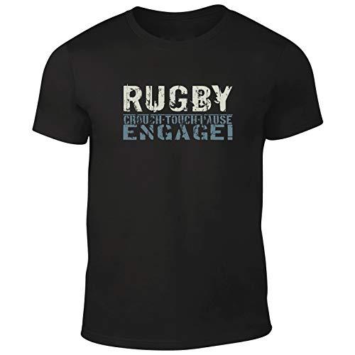 DesignDivil Qualität Herren Rugby Engage schwarz T-Shirt 100% Baumwolle. XL schwarz