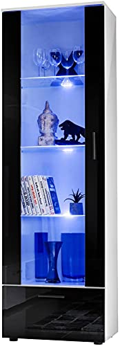ExtremeFurniture T40 Mueble para TV, Carcasa en Blanco Mate/Frente en Negro Alto Brillo sin LED