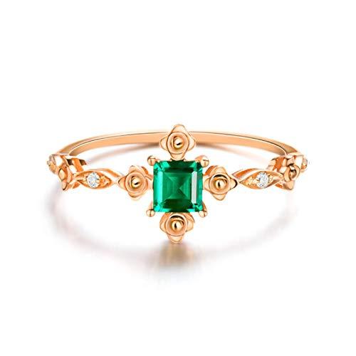 Daesar Anillo Compromiso Mujer,Anillos de Oro Rosa de 18 Kilates Mujer Flor con Cuadrado Esmeralda Verde 0.23ct Diamante Blanco 0.03ct Talla 16