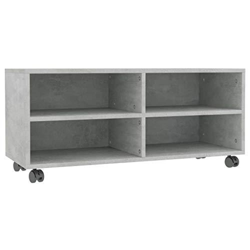 Bulufree Mueble de TV con Ruedas Mesa de televisión gabinete de TV Tablero aglomerado Gris Cemento 90 × 35 × 35 cm