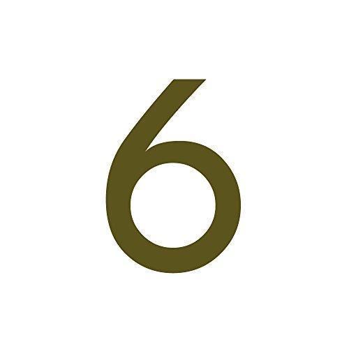 Zahlenaufkleber Nummer 6, Gold, 10cm (100mm) hoch, Aufkleber mit Zahlen in vielen Farben + Höhen, wetterfest