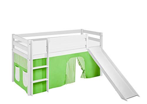 Lilokids Lit Mezzanine JELLE Vert-Beige-Rayures -lit d'enfant Blanc - avec Toboggan et Rideau - lit 90x190 cm