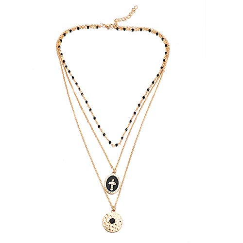 Dfgh Multi-layer Retro Cross Hanger Collier for vrouwen Black Kralen Gouden Ketting Choker Geometrische Bohemian Sieraden (Metal Color : B25)