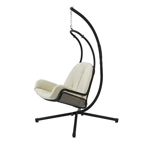 SoBuy OGS52-MI, Swing Chair Hanging Chair Hammock with Beige Cushion