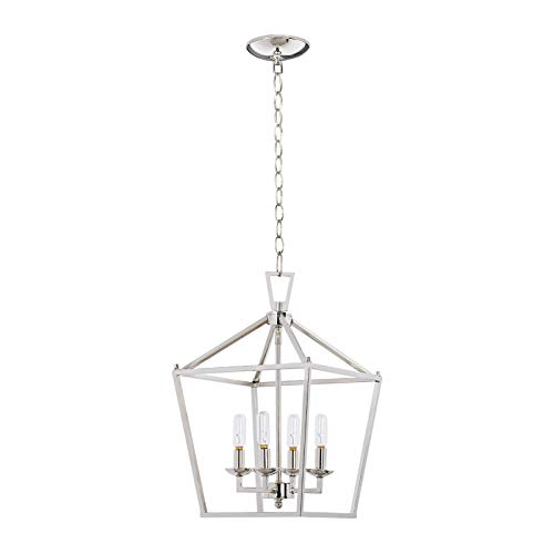 MOTINI 4-Light Silver Lantern Pendant Light Polished Nickel Finish Hanging Light Fixture Geometric Chandelier with Adjustable Chain Metal Cage Pendant Lighting for Kitchen Island Dining Room Foyer