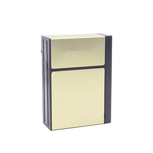 TWW Estuche De Cigarrillos 20 Piezas De Carga USB De Aluminio para Hombres, Proceso De Dibujo De Carga Desmontable Creativo, Estuche De Cigarrillos Más Ligero Ultrafino,Oro