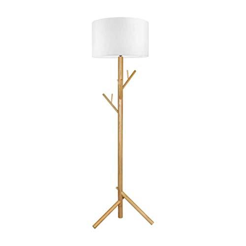 TATANE massief houten statief LED-vloerlamp, witte stoffen kap creatieve hangers hotels staande lamp 1,8 m, met voetschakelaar, voor woonkamer en slaapkamer