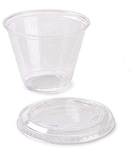 150 ml Plastic Dessert Cup with lid x 50, Plastic Cup 5.5 fl-oz with lid.Free Spoons