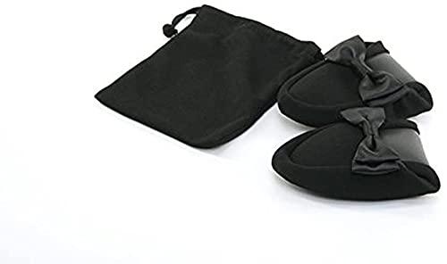 [ハッピークローバー] サテンリボン 二つ折り 携帯スリッパ ブラック 収納袋付 fy-satin 【 S 】