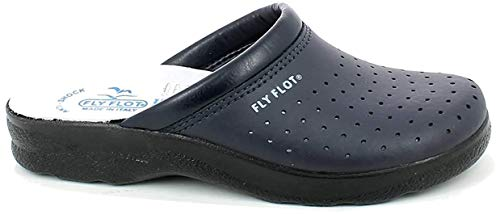 Fly Flot 82094BC Blu Ciabatte SANITARIE Uomo Made in Italy Tomaia Pelle Forata Sottopiede Pelle Anti Shock Anatomico Blu 39